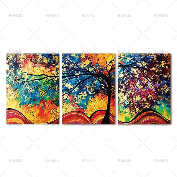 3 Panel Abstract tree Wall picture Canvas painting art wall Pictures print on canvas  home decoration painting print no frame