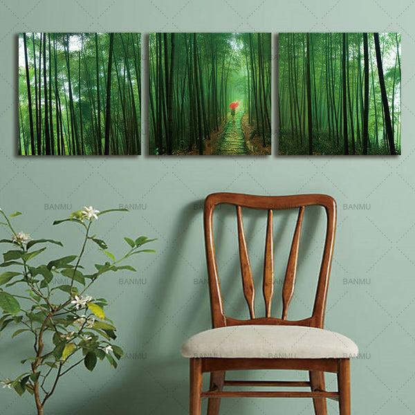 Picture canvas Paintings  Printed Bamboo Landscape Modern Canvas  Bamboo Forest And Pavilion Wall Pictures For Living Room