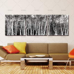 3 Panels Unframed Canvas Photo Prints Black & White Tree Set Wall Art Picture Canvas Paintings Wall Decorations