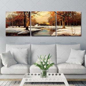 Modern Canvas Art Wall Decor canvas Paintings Scenery Beautiful Trees river Snow Portray  Paintings Occident Style on Canvas
