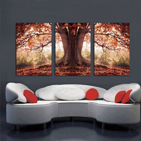 3 Panel Red Autumnal Leaves Home Decorative Canvas Painting Living Room Wall Art Picture Paint On Canvas With (No Framed)