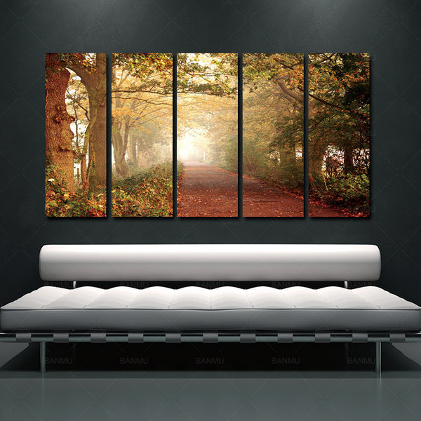5 Pieces  canvas painting wall art picture Green Forest Art Modern Scenery Canvas Painting On Canvas Beautiful Woods Landscape