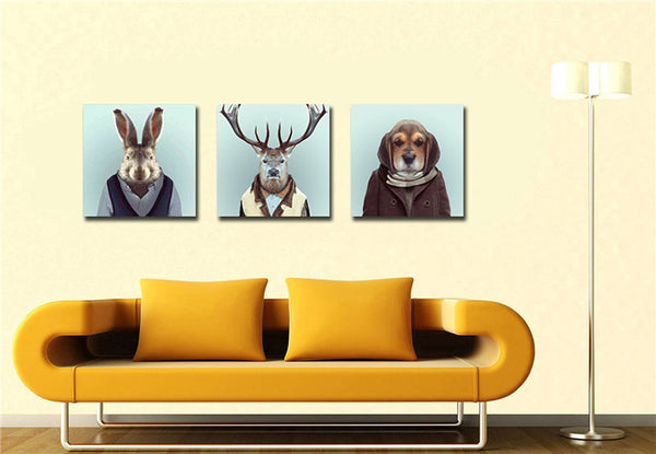 3 Panels Noframe Canvas Photo Prints Mr. Rabit Elk and Dog Animal Paintings Wall Decorations Artwork Giclee Paintings Home Decor