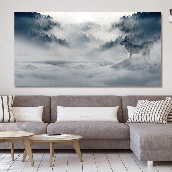 Modern Poster wolf  Canvas Painting  Art wall picture landscape abstract print and poster picture decor print on canvas wall art