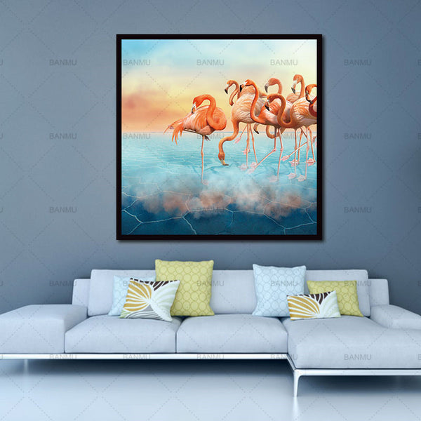Animal Canvas Painting Flamingo Wall Art Prints Home Decoration Decor Art Modular Pictures For Living Room
