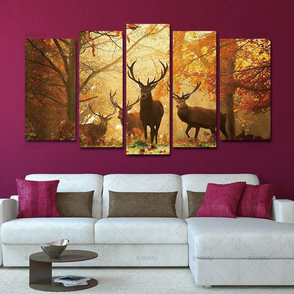 No Frame Animal Wall Picture Home Decor Living Room 5PCS Deer Wall Painting Modern Tree Canvas Painting Art Bedroom