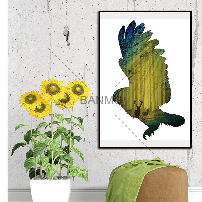 Scandinavian eagle Forest Nordic Abstract Trees Natural Wall Pictures Living Room Art Decoration Canvas Painting No Frame