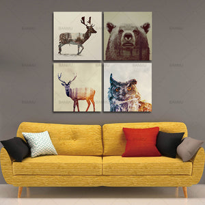Canvas painting  wall art decoration for living room Watercolor Nordic Animal Lion Bear Panda  Art Prints Poster Hipster Picture