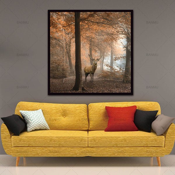 Animal Canvas Painting Deer Wall Art Elk Prints Home Decoration Decor Art Modular Pictures For Living Room