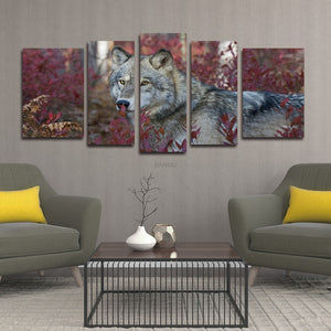 Wall Art Painting Wolf In The red Forest Pictures Prints On 5 Panel   Canvas Animal The Picture Decor Oil For Home Decoration