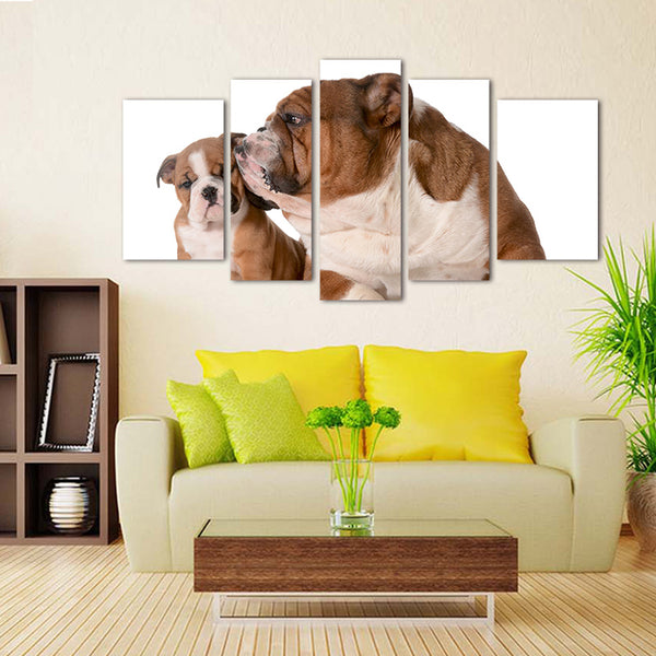 BANMU 5 Panels Dog English Bulldog Family Isolated 8 Week Old Puppy Painting Picture Print On Canvas Animal Pictures