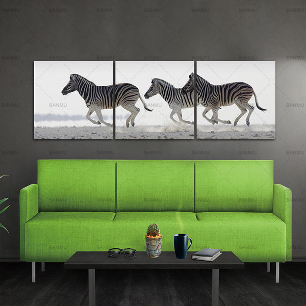 Modern Canvas Painting Zebra Frameless Animal Art Poster Wall Horse Oil Picture Home Decor Print on Canvas for Living Room 3pcs