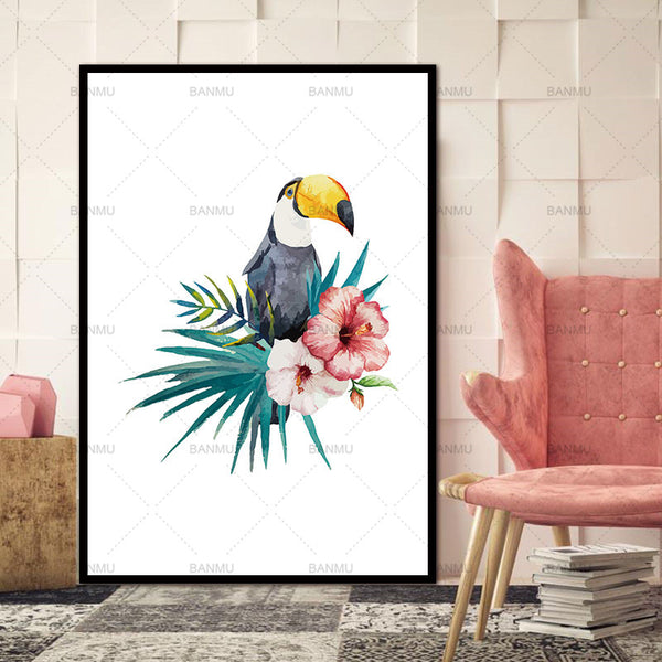Wall Art Canvas Painting Posters Nordic Decoration Bird  And Prints Wall Prints Nursery Wall Pictures Cuadros No Poster Frame