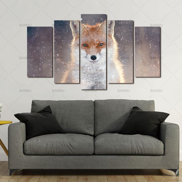 5 Panel Wall Art Canvas Prints Painting HD Fierce Fox Wall Paintings Wild Animal Picture for Bedroom Modern Home Decor No Frame