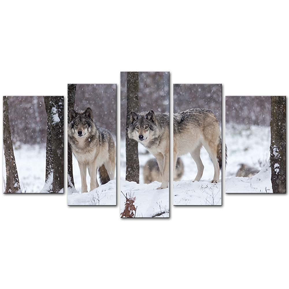 5 Pieces Wolf In Snow Storm Forest Modern Print On Canvas Painting Wall Art The Picture For Home Decoration