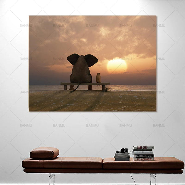 Nordic wall art  painting canvas wall art  cute pig see sunset Art Pictures poster decoration for living room prints on canvas
