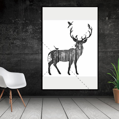 Wall Pictures Deer Canvas Pine Forest On The Wall Decorative Home Decor Canvas Art Posters No Frame