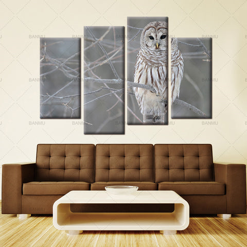 canvas painting wall art decor home 4 Piece Wall Art Painting White Owl In The Tree Prints On Canvas The Picture Animal Pictures
