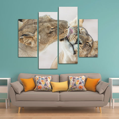 4 Panels Unframed Canvas Photo Prints Lion Wall Decorations for Living Room Home Office Artwork Giclee Paintings Home Decor