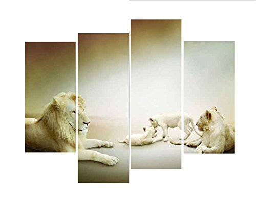 BANMU No Frame  Modern Wall Decor Painting on Canvas Print Lion Parents Tack Care Of Their Children Paintings for Decorations