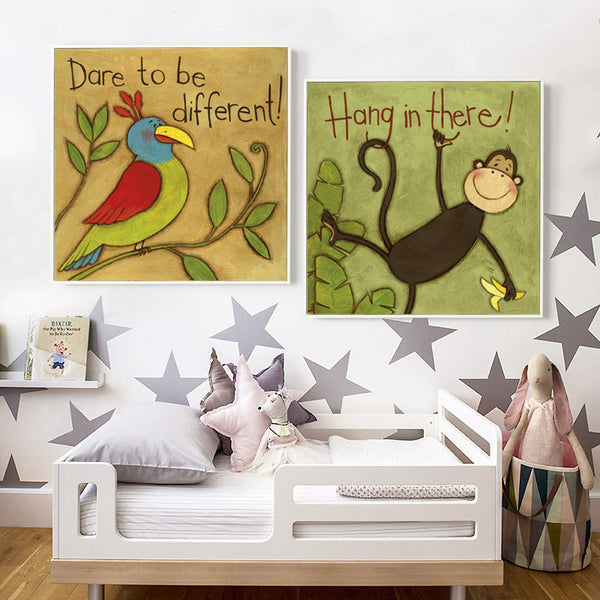 Watercolor Kawaii Animal Big Stupid Lion Giraffe Monkey Bird Canvas Painting Child Bedroom Nordic Style Picture Of Home Decor