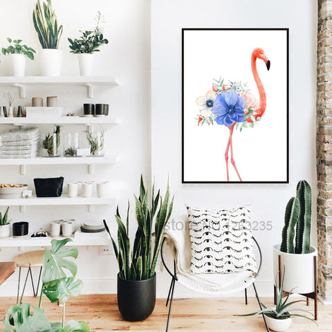 Flamingo With Flowers Nordic Poster Wall Art Canvas Painting Picture Cuadros Decoracion Wall Pictures For Living Room Unframed