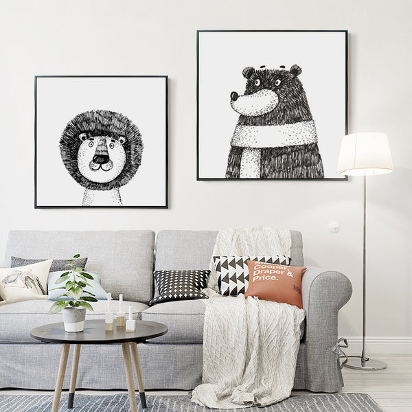 Black and White Hand-painted Animal Lion and Bear Cartoon Canvas Painting Art Print Posters Wall Picture Home Decor
