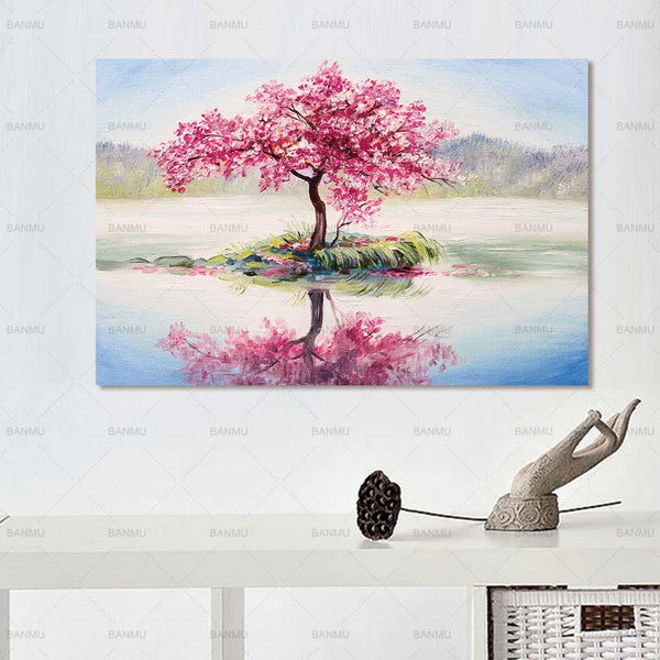 Paintings Canvas Picture Large Wall Art Abstract Tree Painting on Colorful Landscape For Home Living Room Decoration Not Frame