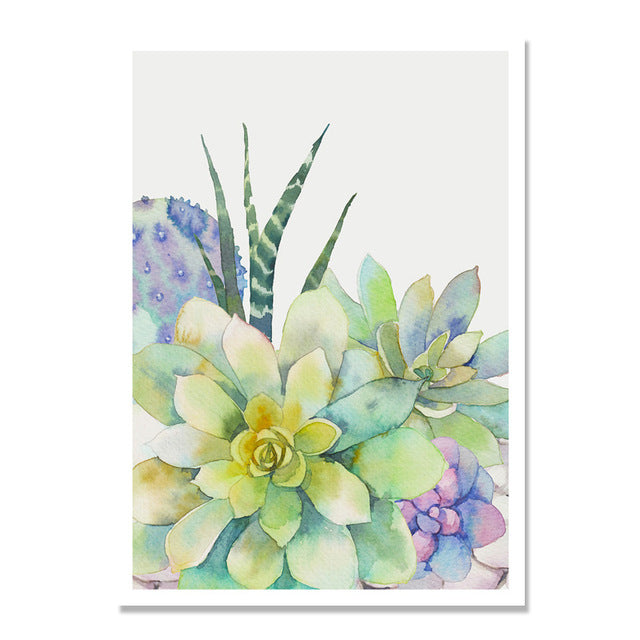 Succulent Plants Cactus Flowers Nordic Poster Posters And Prints Wall Art Canvas Painting Wall Pictures For Living Room Unframed