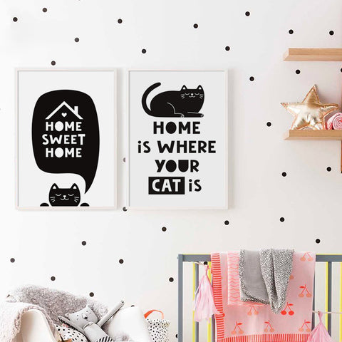 Black And White Cat English Sweet Phrase A2 A3 A4 Canvas Painting Art Print Poster Picture Wall Baby Room Living Room Home Decor