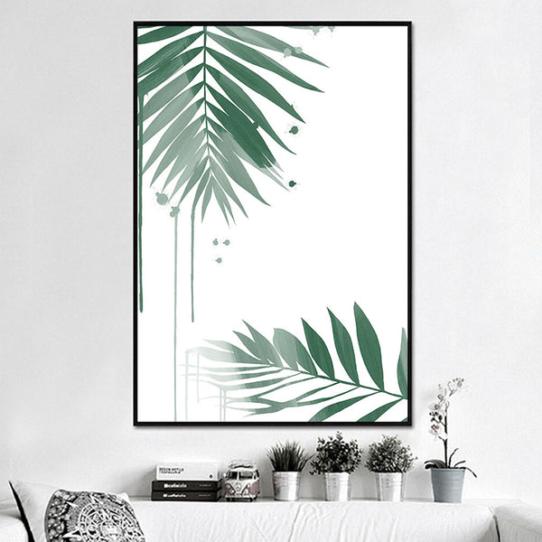 Green Leaves Watercolor Print Tree Round Circle Abstract Canvas Painting Poster Art Print Poster Home Picture Wall Decoration