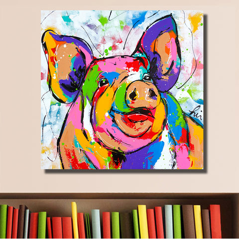 HDARTISAN Wall Printing Colorful Pig Animal Graffiti Oil Painting Home Decor Wall Art Picture Living Room Painting No Frame