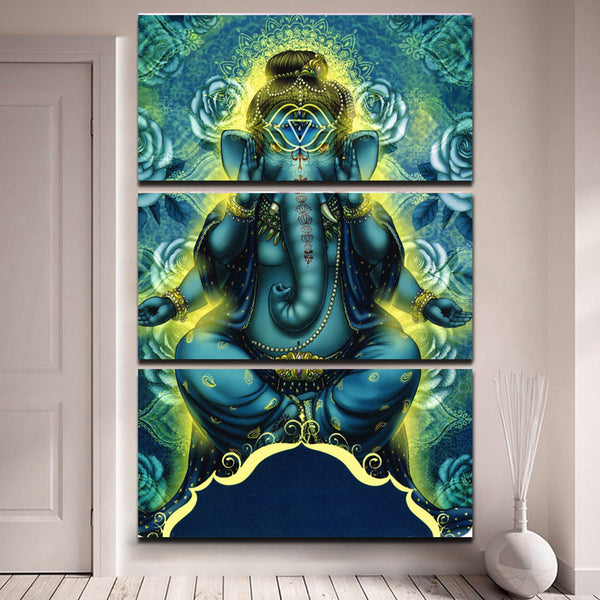 Home Decoration Paintings On Canvas Framework 3 Panel God Lord Ganesha Popular Pictures Vintage Posters And Prints On The Wall