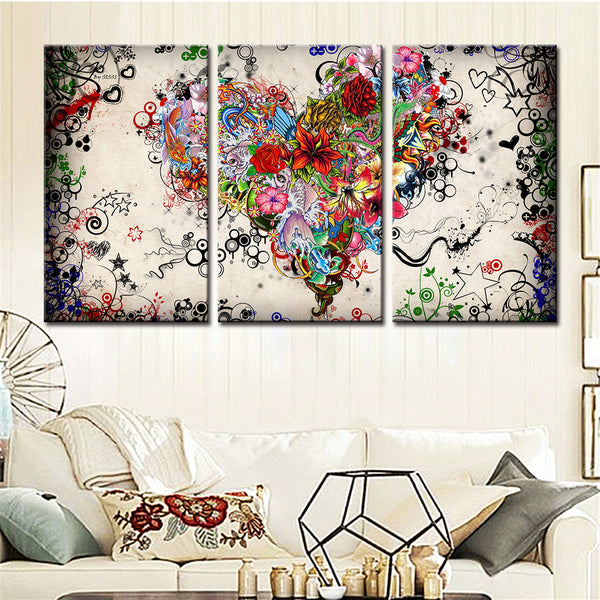 Home Decor Framework Tableau Modern Wall Art  3 Panel Heart Shape Flowers Painting Canvas Modular Pictures For Living Room