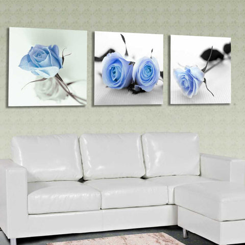 Wall Modular Pictures For Living Room Cuadros 3 Panel Blue Roses Flower Art Canvas Painting Style Modern Framework Decoration