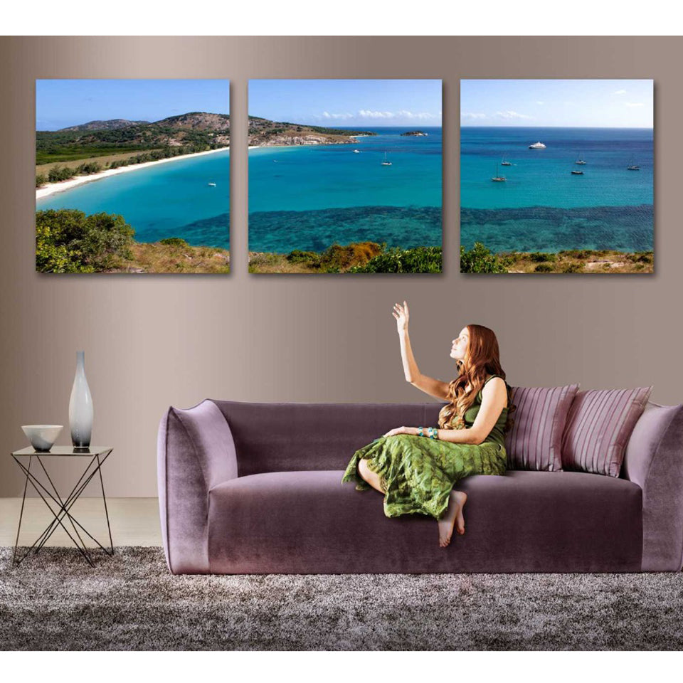 Abstract Modern Modular Picture Home Decor Canvas Print Painting 3 Panel Sea And Seascape Framed Wall Art For Living Room