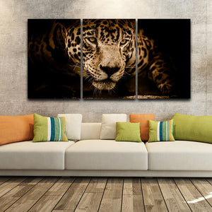 Oil Painting Framework Modern Living Room 3 Panel Animal Leopard Wall Art Poster Modular Picture Canvas Decorative Artwork