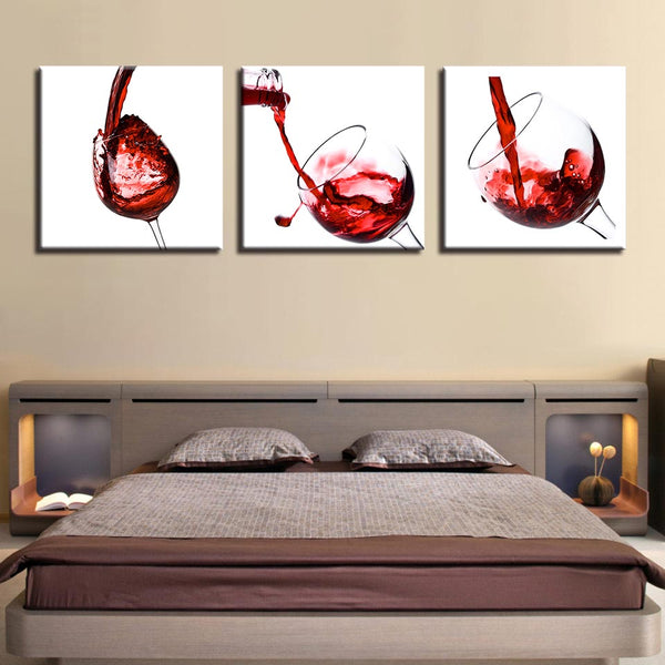 Painting Living Room Wall Art Pictures 3 Piece Delicate Red Wine Glasses Poster Canvas Frames Modular Printed Cuadros Decoration
