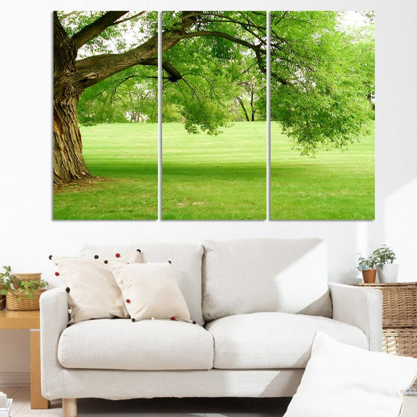 Art Poster Modern Home Decor Living Room 3 Piece/Pcs Green Tree Grassland Frame Wall Canvas HD Print Painting Modular Pictures