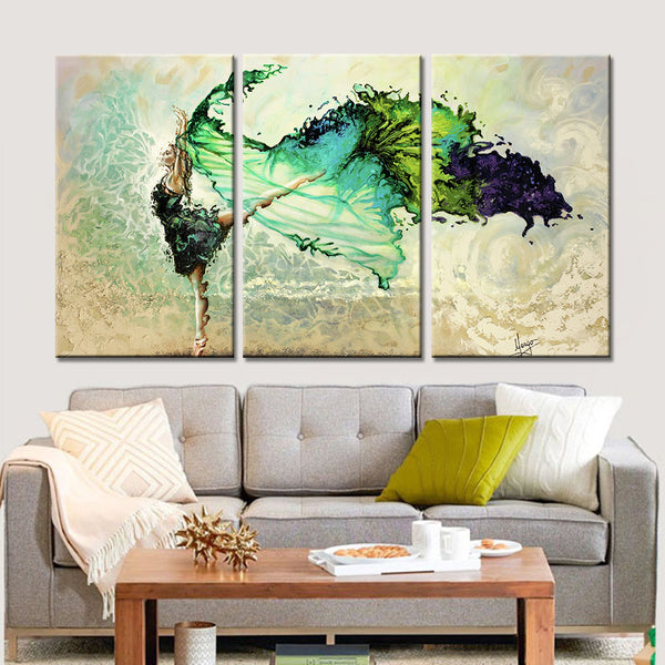 Home Decoration Living Room 3 Panel Dancing Girl Canvas Art Prints Poster Wall Modular Picture Modern Paintings Artwork