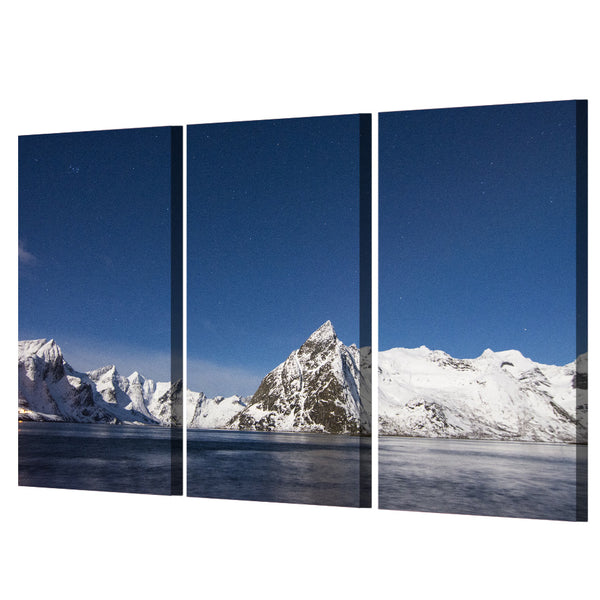 Wall Art Modular Poster Frame Pictures 3 Piece/Pcs Ice Mountain Lake HD Printed Modern Canvas Painting Home Decor Living Room