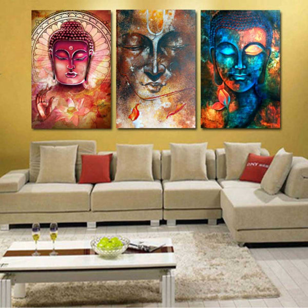 Art Abstract Decorative Framework 3 Panel Buddha Portrait Canvas Painting Wall Modular Pictures For Living Room Bedroom Prints