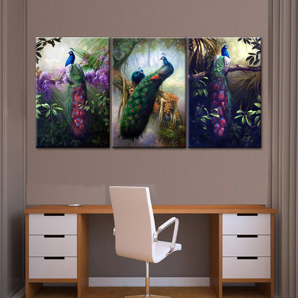 Print Painting Modular Colorful Feather HD Framework 3 Panel Peacock Combination Canvas Wall Art Poster For Living Room Picture