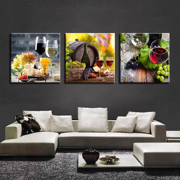 Art Poster Wall Print On Canvas 3 Pieces Grape Wine Bottle Modern Painting Frame Modular Picture Home Decor For Living Room