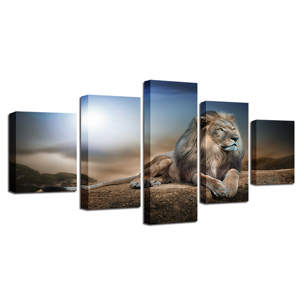 Decorative Modular Pictures Canvas Painting Wall Art Abstract 5 Panel Animal Lion Framework For Living Room Bedroom Prints