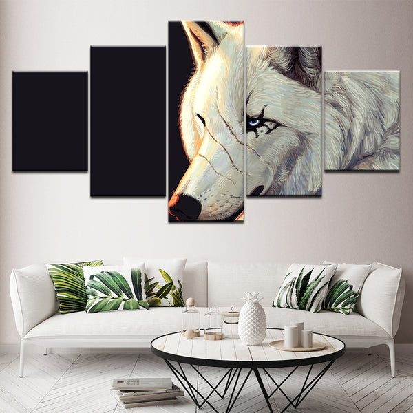 Modern HD Printed Framework Canvas 5 Panel Pictures White Wolf Animal Wall Art Home Decoration Painting Poster For Living Room