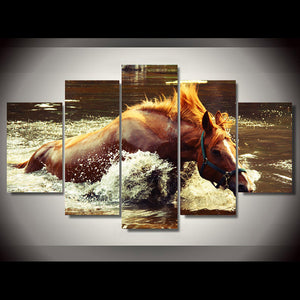 Framework HD Printed Wall Art Modern Canvas 5 Piece/Pcs Horse Home Decor Living Room River Landscape Painting Modular Pictures