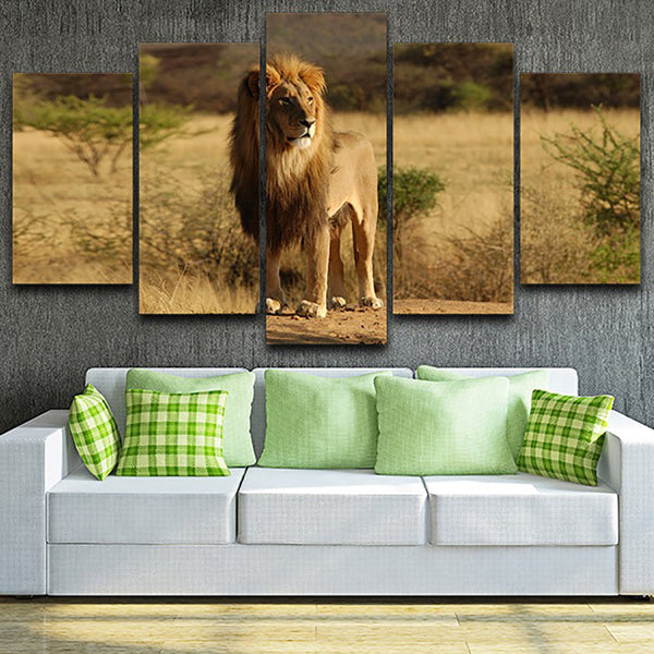 Decor Living Room Wall Art Painting Modular Pictures 5 Piece/Pcs Forest Grassland Lion Home Framework HD Printed Modern Canvas