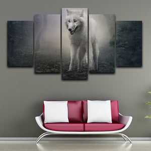 Living Room Wall Art Pictures On Canvas HD Printed 5 Piece/Pcs Forest White Wolf Modern Painting Home Decoration Posters Frame