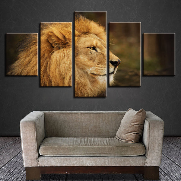 Framework Canvas Painting Wall Art Abstract 5 Panel Animal Lion Decorative Modular Pictures For Living Room Bedroom Prints